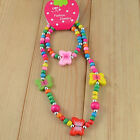 1 Set Cute Girl's Pink Wooden Lovely Smile Beaded Necklace&Bracelet Kids Jewelry