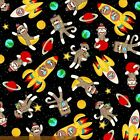 SOCK MONKEYS IN SPACE BLAST OFF ROCKETS KIDS QUILT SEW CRAFT FABRIC Free Oz Post