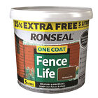 Ronseal One Coat Fence Life Shed & Varnish Treatment 5 Litres - 4 Colours