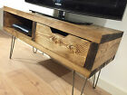 Rustic Solid Pine Wood TV Stand - Wooden Cabinet Box - Media Unit With Drawer