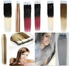 """Tape In Skin Weft 100% Remy Brazilian Human Hair Extensions Ombre Grey 16""""-24""""7a"""