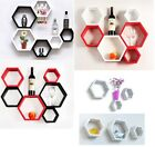 6 Set Floating Beehive Wall Decor Mount CD DVD Book Storage Shop Display Shelf