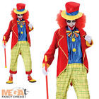 Crazy Clown + Hat Mens Fancy Dress Halloween Circus Carnival Adults Costume New
