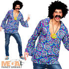 Funky Hippie Shirt Mens Fancy Dress 1970s 60s Hippy Groovy Peace Adults Costume