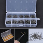 500pcs/Lot Portable Carbon Steel Fishing Hooks 10 sizes Sharpened Hooks With Box