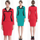Fashion Women V-Neck Work Long Sleeve Business Career Formal Party Pencil Dress