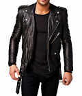 Lambskin Leather Jacket For Men's  Slim Fit Solid Jacket Whieght  M-32