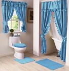 NEW BLUE Lauren Double Swag Ruffle Shower Curtain with Liner & Tiebacks