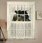 NEW Lorraine Home Fashions Hopewell Lace Kitchen Curtain - Ivory Cream