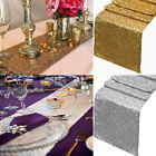 """Gold/Silver Glitter Sequin Table Runner 12""""x108"""" Sparkly Wedding Party Decor"""