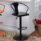 Swivel Bar Stool Retro Black Glossy Adjustable Height Counter Bar Pub Home Metal
