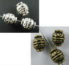 140 Silver/Bronze Tone Fancy Bicone Bead Spacers 9x7mm 1034