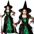 Girls Emerald Witch Deluxe Halloween Gothic Fancy Dress Costume Green Black
