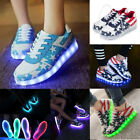 LED Light Shoes Lace Up Sneakers Sportswear Men Women Striped Luminous Casual