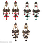 GIFT Exotic National Flavor Statement Retro Tassel Turquoise Diamante Earrings