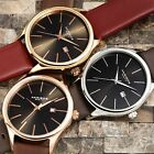 Men's Akribos XXIV AK618 Quartz Sunray Dial Date Genuine Leather Strap Watch image