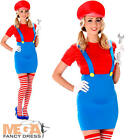 Red Plumber Ladies Fancy Dress Super Mario Video Game Adult Womens 1980s Costume