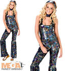 Disco Diva Jumpsuit Ladies Fancy Dress 70s Groovy Womens Adults 1970s Costume