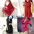 New Warmer Women Cashmere Shawl Scarf Stole Wrap Wool Silk Pashmina Scarves