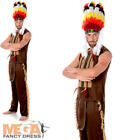 Indian Chief + Headdress Mens Western Fancy Dress 80s YMCA Adults Costume Outfit