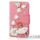 Magnetic Bling Crystal Diamonds PU leather flip wallet  case cover for Samsung#1