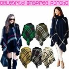 Ladies Womens Winter High NECK Knitted Tartan Check Poncho Shawl Sweater Jumper