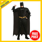 MENS Full Costume Fancy Dress Up RD Licensed Batman Deluxe Muscle Chest PLUS