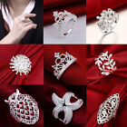 Charming 6 Style Women Party Jewelry Silver Plated Finger Wedding Ring Size 7 8