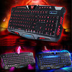 3 colors LED Illuminated Backlight USB Wired Gaming Keyboard + LED MOUSE
