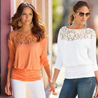 NEW Women's Loose LACE Long Sleeve Casual Shirt Tops Fashion Blouse