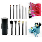 12Pc Pro Makeup Cosmetic Powder Concealer Brush Tool Set  with Leather Hold Case
