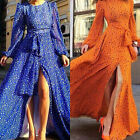 Womens Floral Irregular Long Sleeve Vintage Maxi Evening Party Dress Sundress