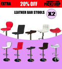 2 x New PU PVC Leather Bar Stool Kitchen Chair Gas Lift Black White Red Brown