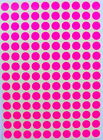 Pink Neon Rounded Stickers 10 mm 3/8 inch Coded Labels Circular Small Dots Sheet