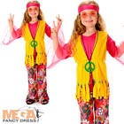 Peace Hippie Girls Fancy Dress 1960s 70s Hippy Childrens Kids Childs Costume New