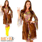 Funky Hippie Ladies Fancy Dress 1960s 70s Sixties Womens Adults Hippy Costume