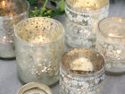 SHABBY CHIC FRENCH SILVER GLASS TEA LIGHT VOTIVE CANDLE CHRISTMAS TABLE VINTAGE
