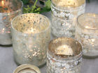 SHABBY CHIC FRENCH SILVER GLASS TEA LIGHT VOTIVE CANDLE WEDDING  TABLE VINTAGE