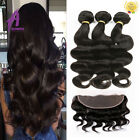 Peruvian Virgin Hair Extensions Body Wave Lace Frontal Closure with 3 bundles