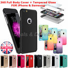 Hybrid 360° Hard Ultra thin Case + Tempered Glass Full Body Cover iPhone Samsung