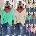 Women Casual Long Sleeve Knitted Pullover Loose Sweater Jumper Tops Knitwear NEW