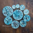 """Pair of Light Blue Cracked Glass Plugs Double Flared - 00g 1/2"""" 3/4"""" 1"""" -10 size"""