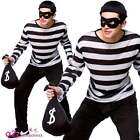 ADULT MENS BURGLAR ROBBER VILLAIN FANCY DRESS COSTUME WITH SWAG BAG