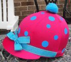 RIDING Hat Silk Skull cap Cover PINK TURQUOISE SPOTS & RIBBON With OR w/o Pompom