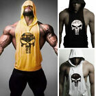 Men's Hoodie Vest Muscle Stringer Bodybuilding Punisher Gym Tank Top Sport Shirt