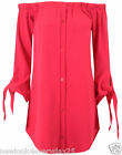NEW LADIES OFF THE SHOULDER  BARDOT BUTTON PLAIN SHIRT DRESS TOP UK 8-16