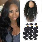 7A 3Bundles Brazilian Body Wave with 360 Lace Frontal Band with Baby Hair