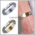 Fashion Stainless Steel Silver Gold Curb Cuban Chain ID Bracelet Men's Jewelry
