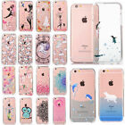 Thin 3D Pattern Clear Acrylic Back Soft Bumper Case Cover For iPhone 6 6s 7 Plus