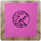 Hand Printed Fabric Square Birds Pink and Black 26cm QUILT QUILTING PANEL BLOCKS